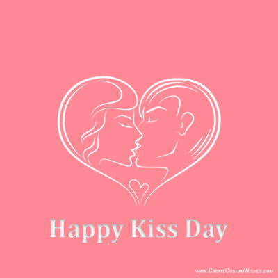 Editable Kiss Day Greeting Card