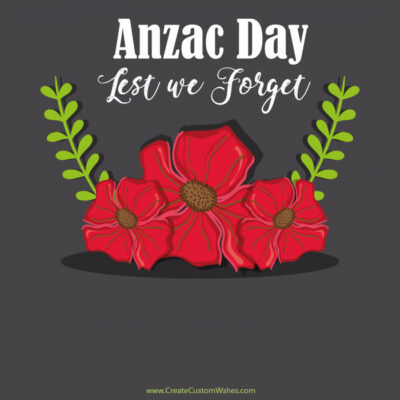 Add Name & Text on Anzac Day Card