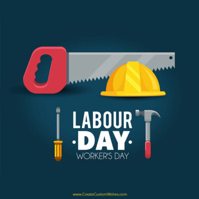 Add Name & Text on Labour Day Card