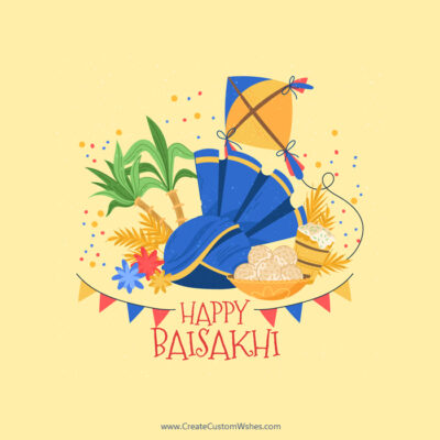 Add Name on Baisakhi Wishes Image