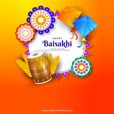 Customized Happy Baisakhi Wishes Card