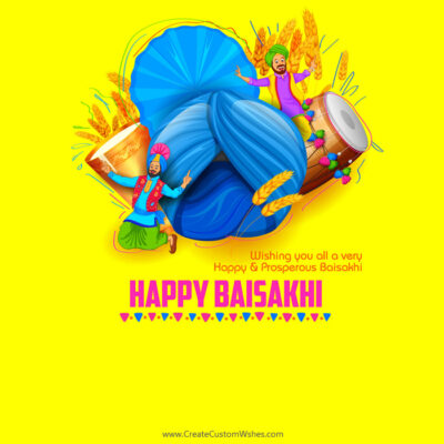 Editable Happy Baisakhi Greeting Cards