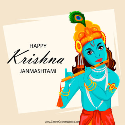 Editable Krishna Janmashtami Wishes Card