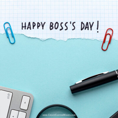Add Name on Happy Boss Day Card FREE