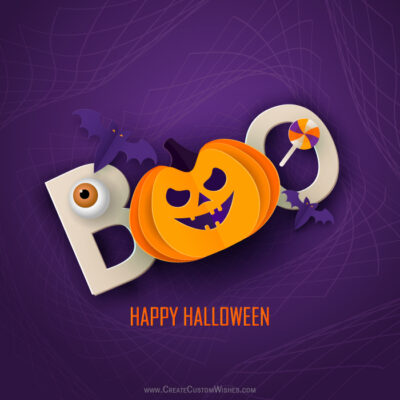 Boo Happy Halloween Image with Name