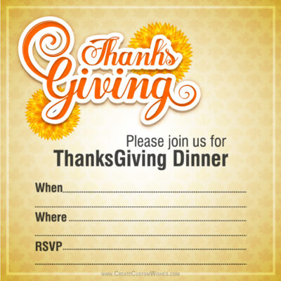 Create Thanksgiving Invitation Card Online