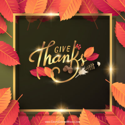 Give Thanks Greeting with Name and Logo