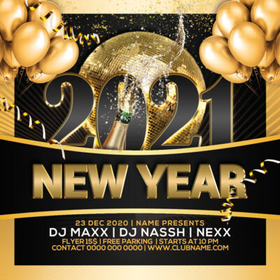 New Year's Eve 2021 Invites Templates FREE