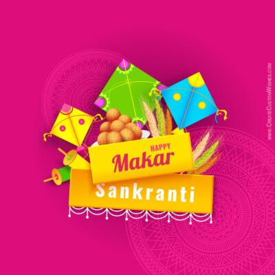Editable Makar Sankranti Greeting Card