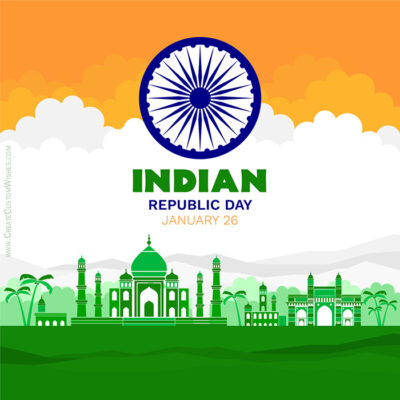 Editable Republic Day 2021 Greeting Card