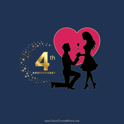 Personalize 4th Marriage Anniversary Card