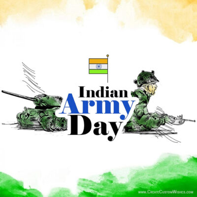 Add Name on Indian Army Day Wishes Card