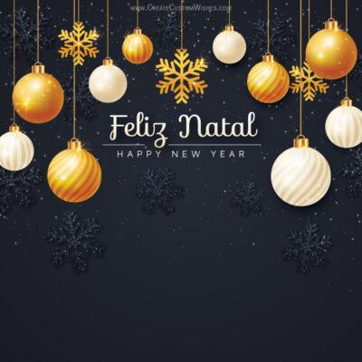 Create Feliz Natal with Name & Photo card