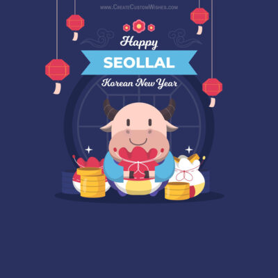 Add Name & Photo on Seollal Wishes Card