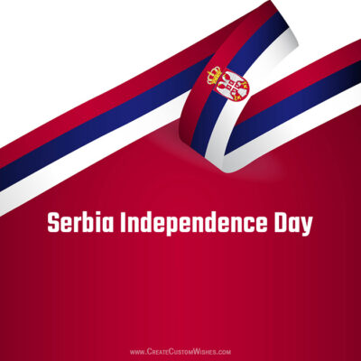 Write Name on Serbia Independence Day Image