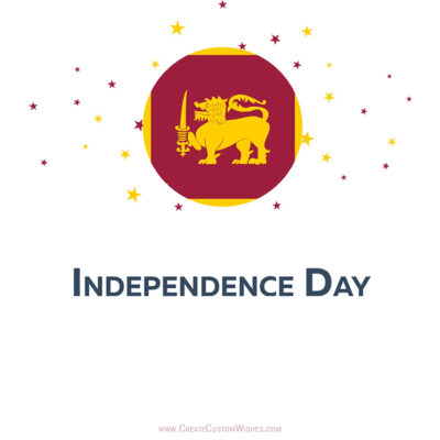 Write Name on Sri Lanka Independence Day Card