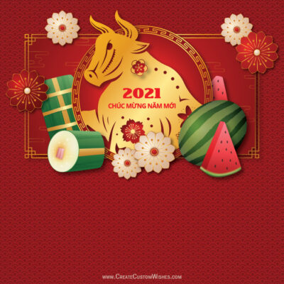 Write Name on Vietnamese New Year Pic