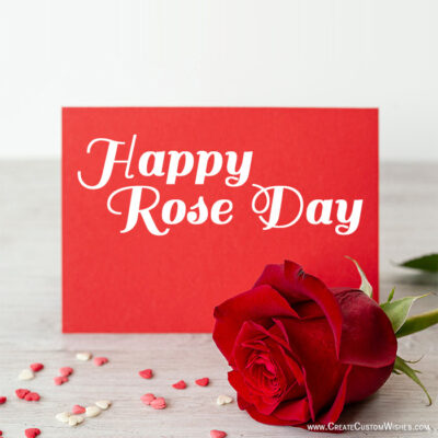Add Name & Photo on Rose Day Greeting