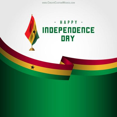 Add Name on Ghana Independence Day Card