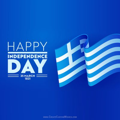 Add Name on Greece Independence Day Card