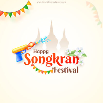 Add Name on Songkran Festival Image