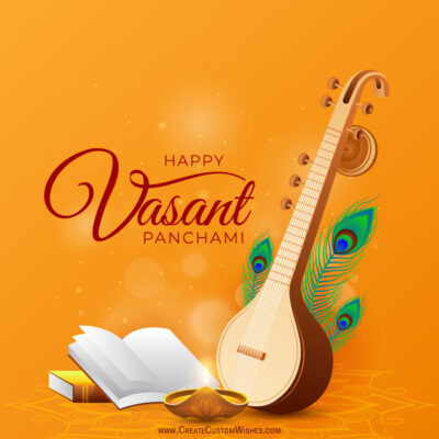 Editable Vasant Panchami Greeting Card