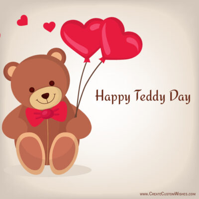Editable Teddy Day Greeting Card