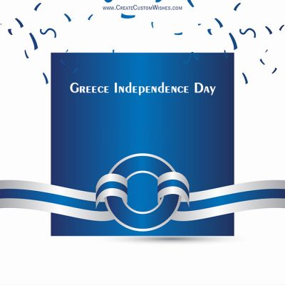 Write Name on Greece Independence Day Image