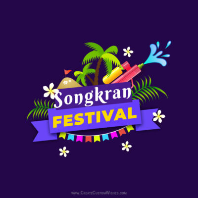 Write Name on Songkran Wishes Image