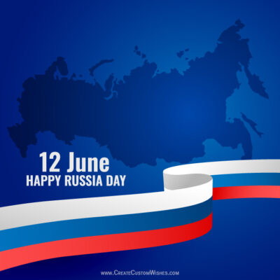 Russia Day with Name Greeting Image