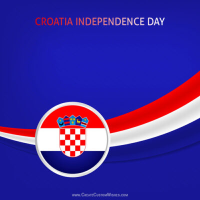 Write Text on Croatia Independence Day Card