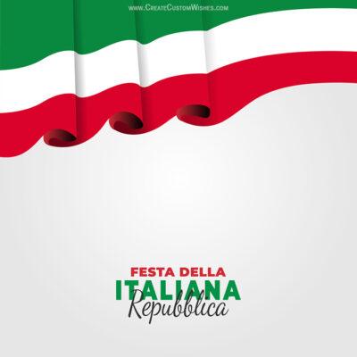 Write Text on Festa della Repubblica Card