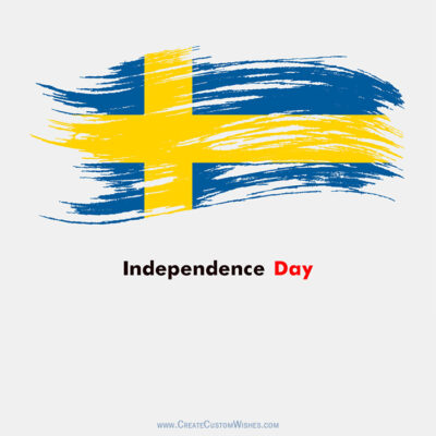 Write Text on Sweden Independence Day Card