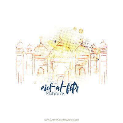 Add Name on Eid al-Fitr Wishes Image