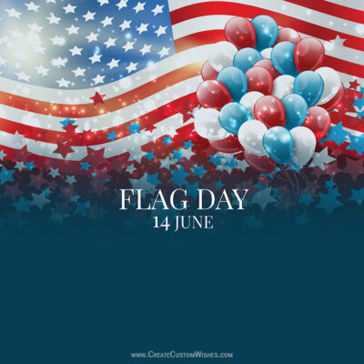 Editable 14 June Flag Day Greeting Cards
