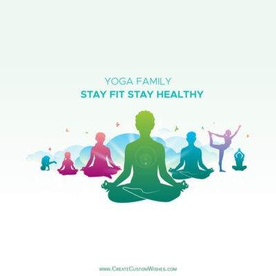 Stay Fit, Healthy Yoga Day Greeting Card