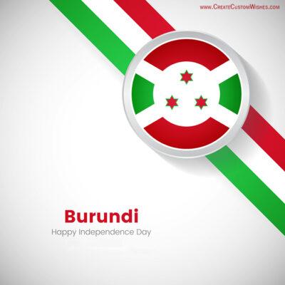 Write Name on Burundi Independence Day Pic