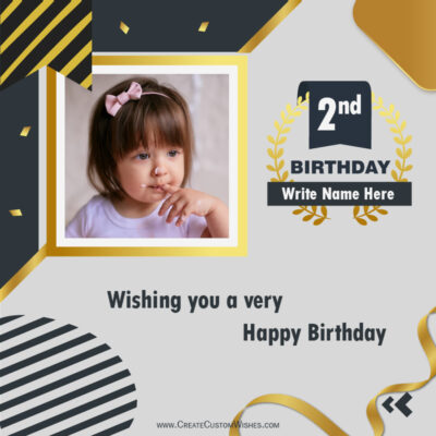 2nd Birthday Greeting Card with Photo and Name