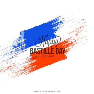 Add Name on Bastille Day Greeting Card