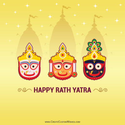 Free Customized Rath Yatra Wishes Card