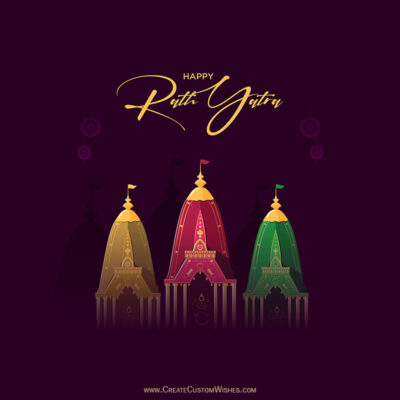 Happy Rath Yatra with Name Greeting Card