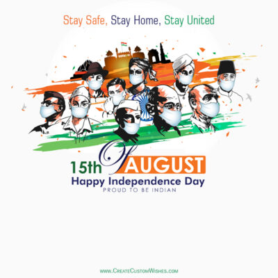Create Covid-19 Independence Day Greeting Card
