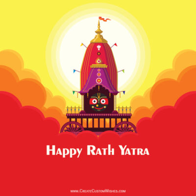 Write Name, Text on Rath Yatra Wishes Image