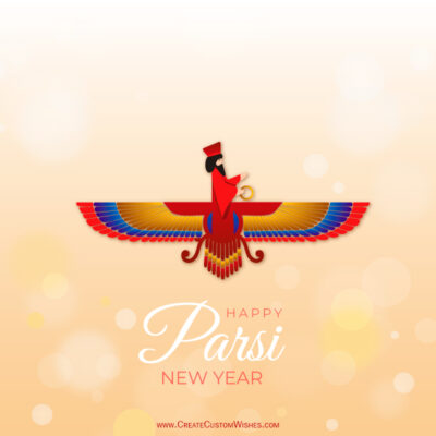 Write Name, Text, Quote on Parsi New Year Wishes Image