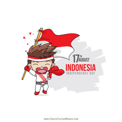 Write Name on Indonesia Independence Day Pic