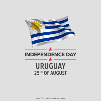Write Name on Uruguay Independence Day Pic