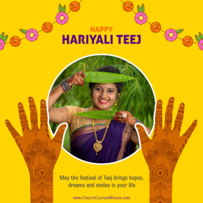 Add Photo on Hariyali Teej Wishes Image