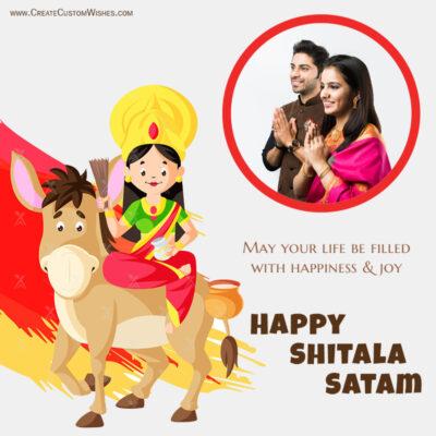 Add Photo on Shitala Satam Greeting Card
