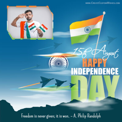 Independence Day Wishes with Photo Frame