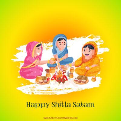 Write Name / Text / Quote on Shitala Satam Wishes Image
